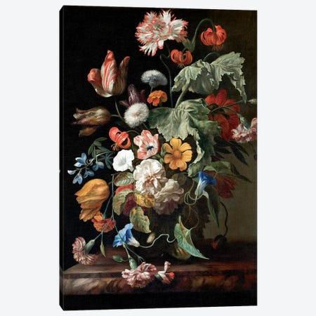 Still-Life With Flowers, c.1700 Canvas Print #BMN7456} by Rachel Ruysch Canvas Wall Art
