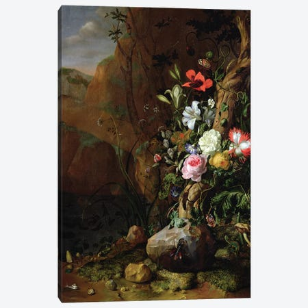 Tree Trunk Surrounded By Flowers, Butterflies And Animals, 1685 Canvas Print #BMN7458} by Rachel Ruysch Canvas Print