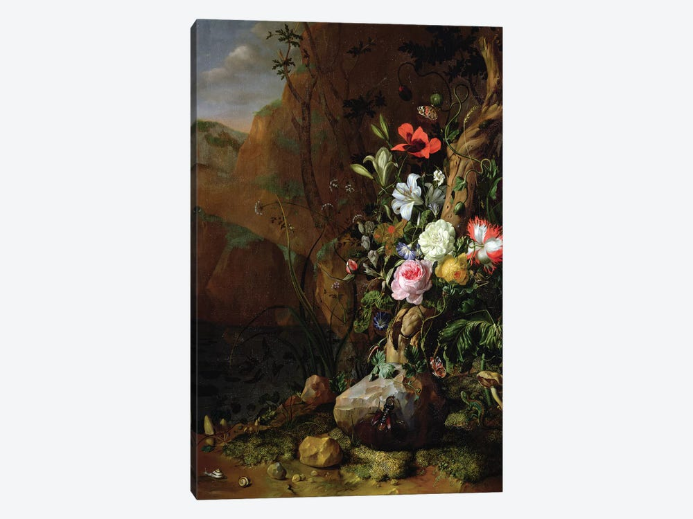 Tree Trunk Surrounded By Flowers, Butterflies And Animals, 1685 by Rachel Ruysch 1-piece Canvas Art Print