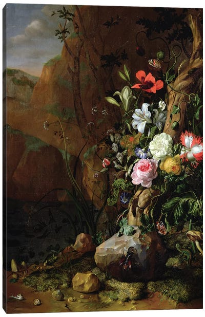 Tree Trunk Surrounded By Flowers, Butterflies And Animals, 1685 Canvas Art Print