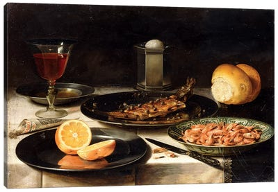 A Herring With Capers And A Sliced Orange On Plates And A Bowl Of Shrimp On A Table Canvas Art Print