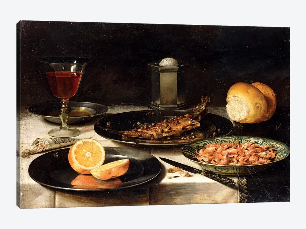 A Herring With Capers And A Sliced Orange On Plates And A Bowl Of Shrimp On A Table by Clara Peeters 1-piece Canvas Wall Art