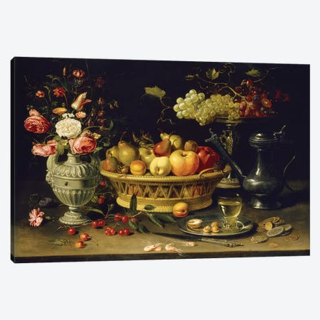 Still Life Of Fruit And Flowers, 1608-21 Canvas Print #BMN7460} by Clara Peeters Canvas Art