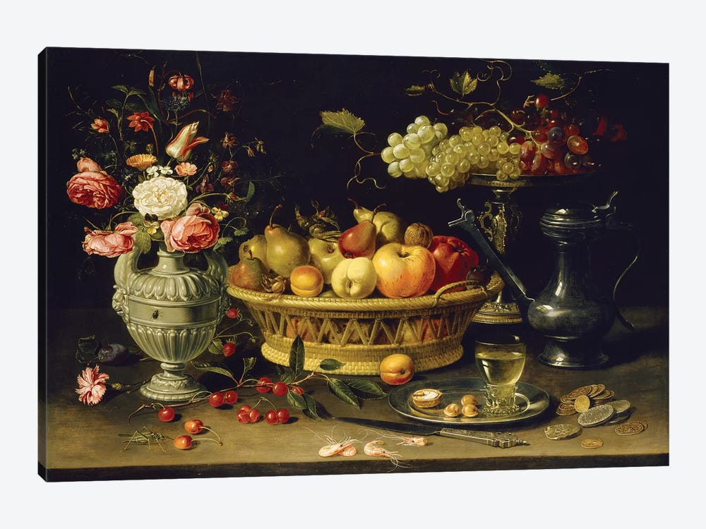 Still Life Of Fruit And Flowers, 1608-21 by Clara Peeters 1-piece Canvas Art