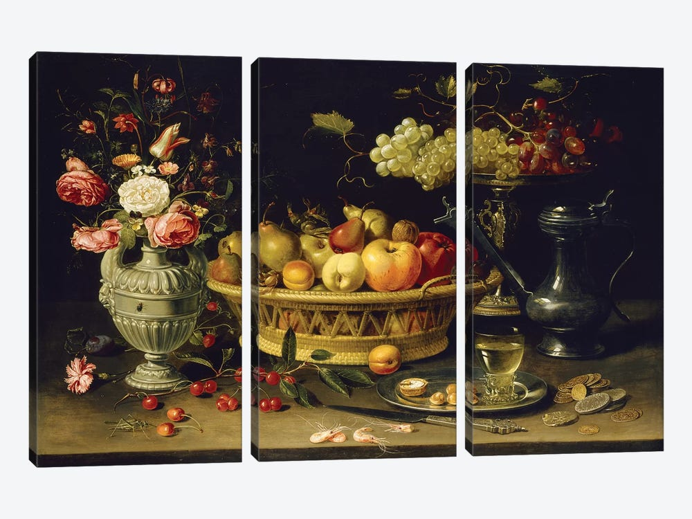 Still Life Of Fruit And Flowers, 1608-21 by Clara Peeters 3-piece Canvas Artwork