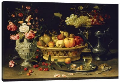 Still Life Of Fruit And Flowers, 1608-21 Canvas Art Print