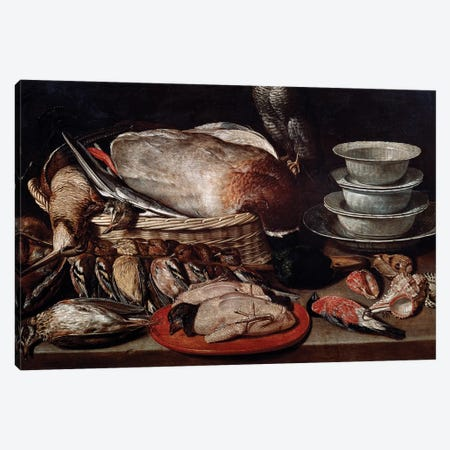 Still Life Showing Birds, Shells And Pottery Canvas Print #BMN7461} by Clara Peeters Canvas Wall Art