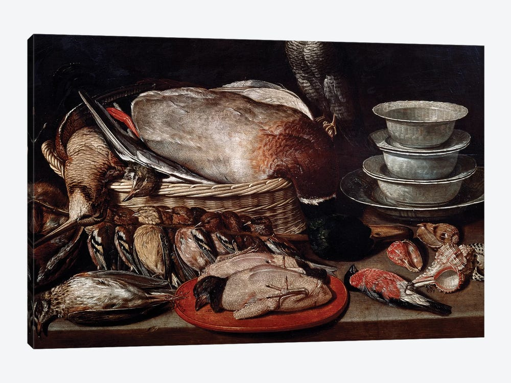 Still Life Showing Birds, Shells And Pottery by Clara Peeters 1-piece Canvas Art Print