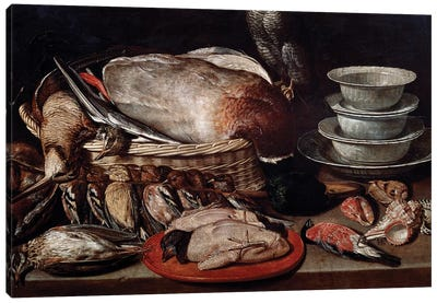 Still Life Showing Birds, Shells And Pottery Canvas Art Print