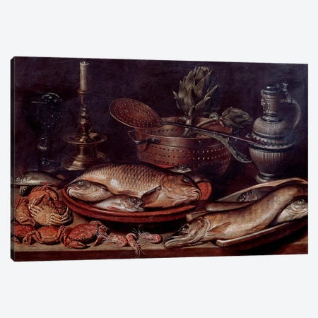 Still Life Showing Fishes And Shellfishes, 1611 Canvas Print #BMN7462} by Clara Peeters Canvas Wall Art