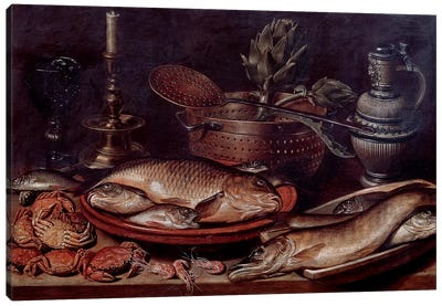 Still Life Showing Fishes And Shellfishes, 1611 Canvas Art Print