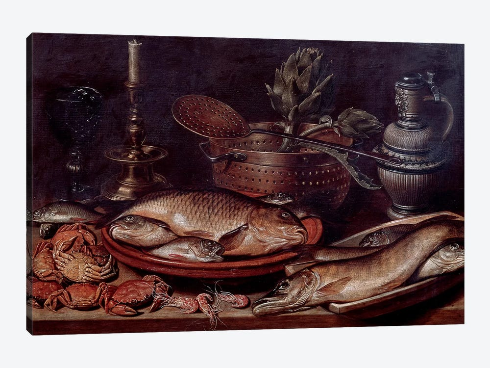 Still Life Showing Fishes And Shellfishes, 1611 by Clara Peeters 1-piece Canvas Art