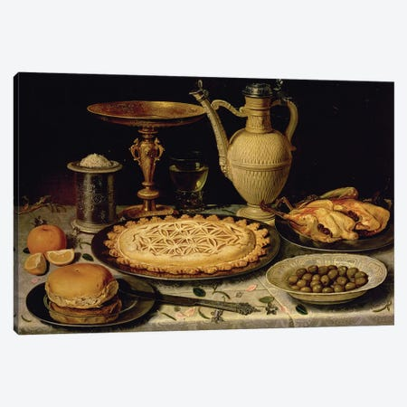 Still Life With A Tart, Roast Chicken, Bread, Rice And Olives Canvas Print #BMN7463} by Clara Peeters Canvas Art