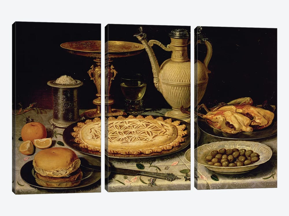 Still Life With A Tart, Roast Chicken, Bread, Rice And Olives by Clara Peeters 3-piece Art Print