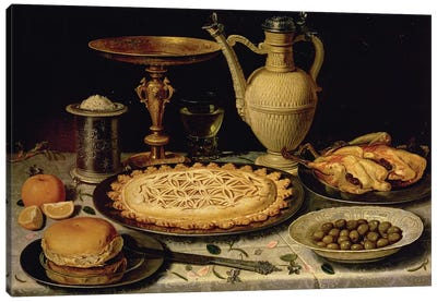 Still Life With A Tart, Roast Chicken, Bread, Rice And Olives Canvas Art Print