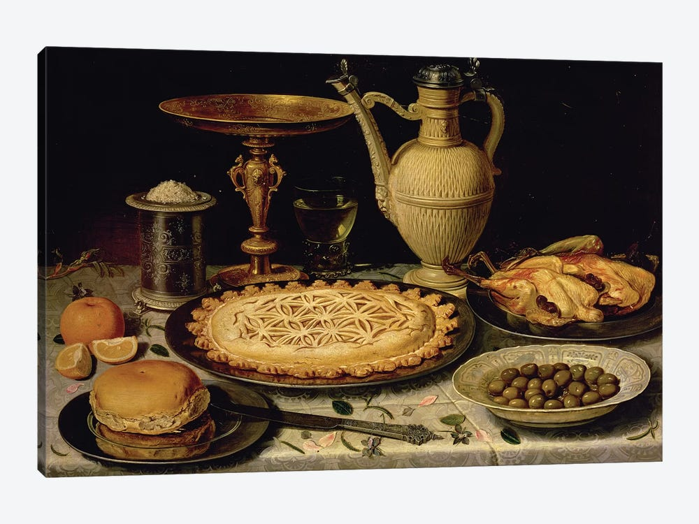 Still Life With A Tart, Roast Chicken, Bread, Rice And Olives by Clara Peeters 1-piece Canvas Art Print