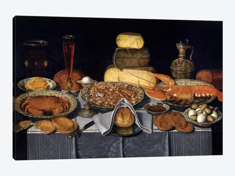 Still Life With Crab, Shrimps And Lobster, c.1635-40 by Clara Peeters 1-piece Canvas Wall Art