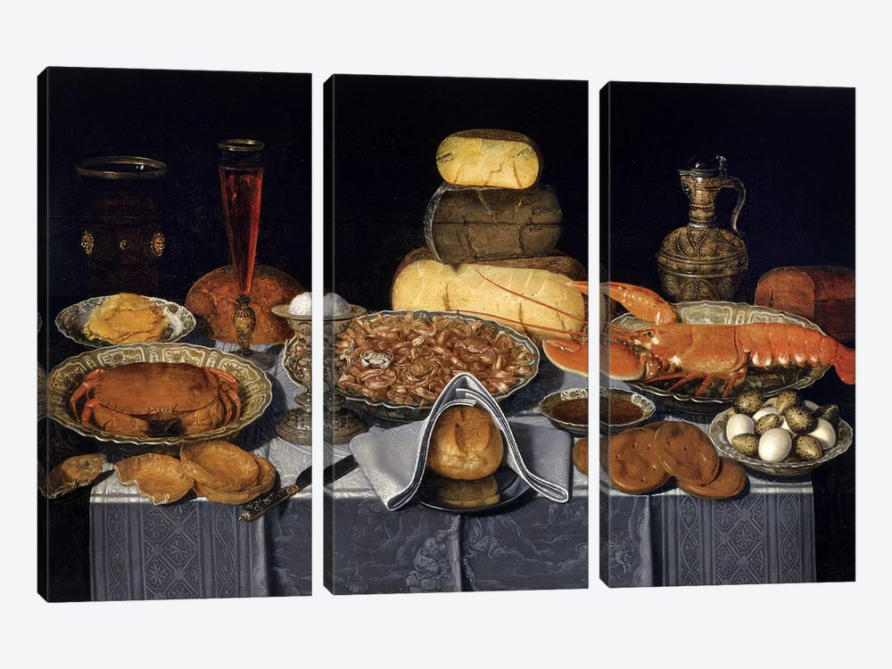Still Life With Crab, Shrimps And Lobster, c.1635-40 by Clara Peeters 3-piece Canvas Art