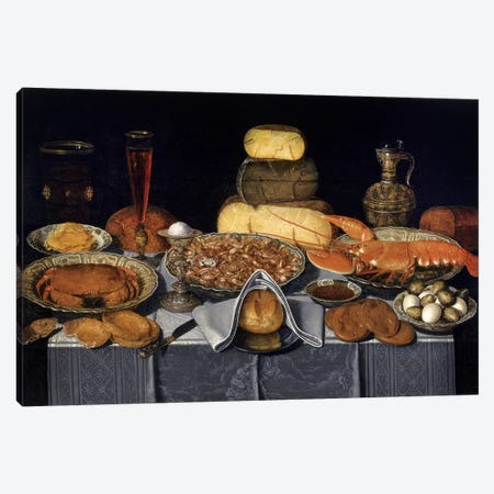 Still Life With Crab, Shrimps And Lobster, c.1635-40 Canvas Print #BMN7464} by Clara Peeters Canvas Art Print