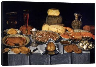 Still Life With Crab, Shrimps And Lobster, c.1635-40 Canvas Art Print