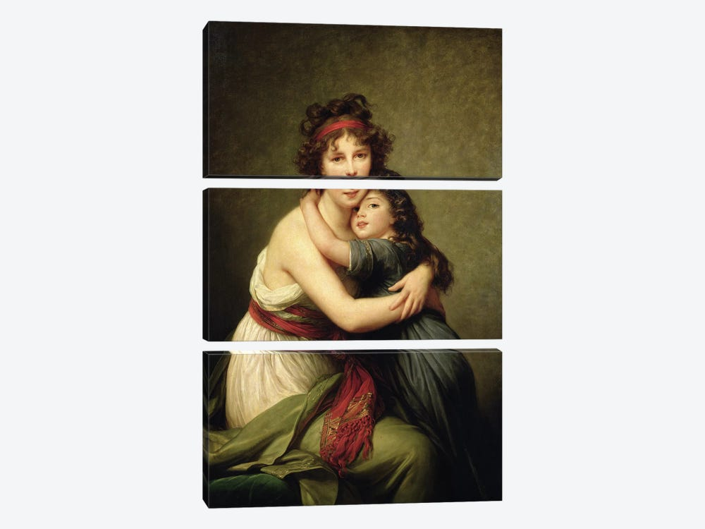 Madame Vigee-Lebrun And Her Daughter, Jeanne-Lucie-Louise, 1789 by Elisabeth Louise Vigee Le Brun 3-piece Canvas Print
