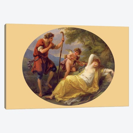A Sleeping Nymph Watched By A Shepherd, 1780 Canvas Print #BMN7475} by Angelica Kauffmann Canvas Artwork