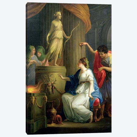 Accontius And Cydippe Before The Altar Of Diana Canvas Print #BMN7479} by Angelica Kauffmann Art Print
