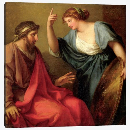 Egeria Handing Numa Pompilius His Shield, 1794 Canvas Print #BMN7488} by Angelica Kauffmann Canvas Wall Art