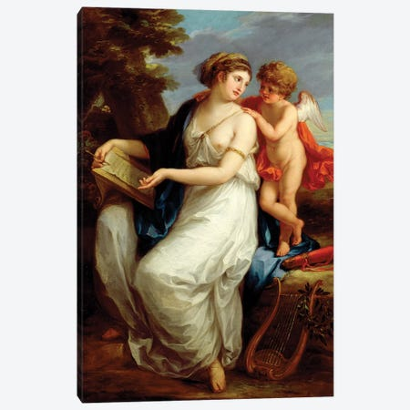 Erato, The Muse Of Lyric Poetry With A Putto Canvas Print #BMN7490} by Angelica Kauffmann Canvas Art Print