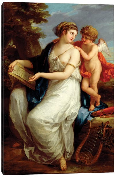 Erato, The Muse Of Lyric Poetry With A Putto Canvas Art Print