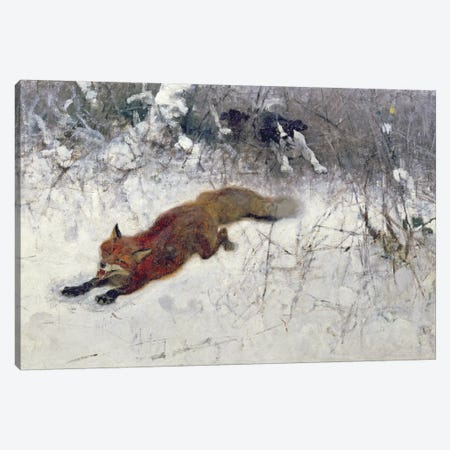 Fox Being Chased through the Snow Canvas Print #BMN749} by Bruno Andreas Liljefors Canvas Art Print