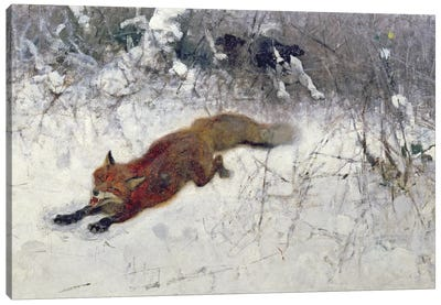 Fox Being Chased through the Snow Canvas Art Print