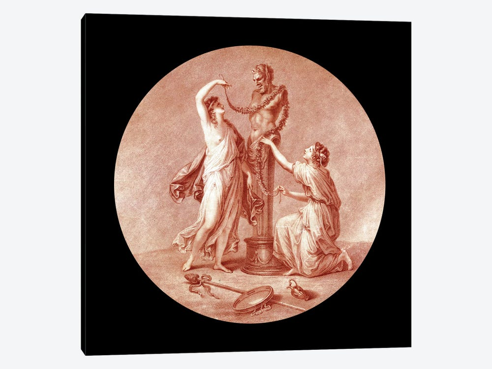 Nymphs Adorning A Statue Of Pan, 1776 by Angelica Kauffmann 1-piece Canvas Art