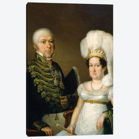 Portrait Of A General And His Wife Canvas Print #BMN7509} by Angelica Kauffmann Canvas Art Print