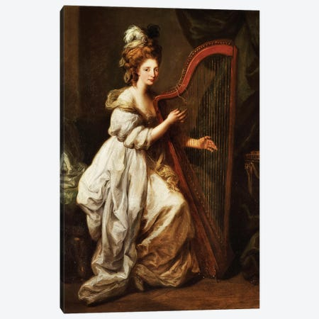 Portrait Of Elizabeth Ewer, Seated In A White Dress With A Yellow Shawl, Playing A Harp, c.1768-73 Canvas Print #BMN7516} by Angelica Kauffmann Art Print
