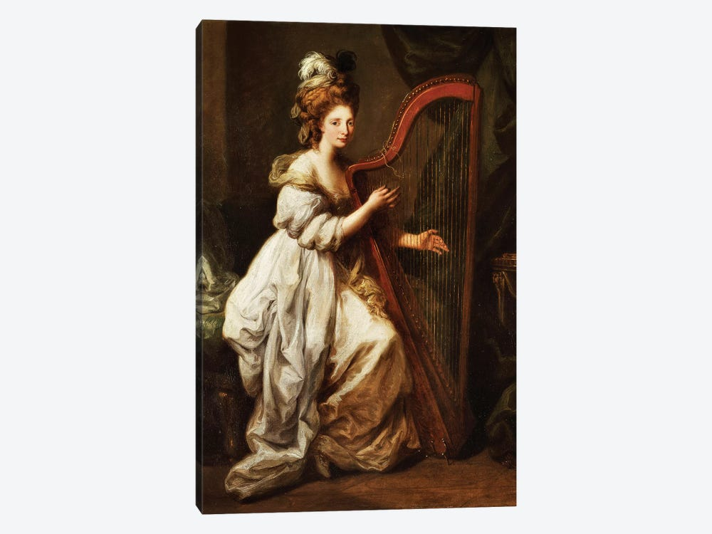 Portrait Of Elizabeth Ewer, Seated In A White Dress With A Yellow Shawl, Playing A Harp, c.1768-73 1-piece Canvas Artwork