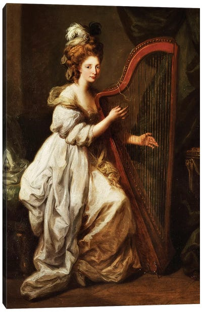 Portrait Of Elizabeth Ewer, Seated In A White Dress With A Yellow Shawl, Playing A Harp, c.1768-73 Canvas Art Print