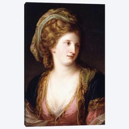 Portrait Of The Artist, Bust Length, Wearing A Pink Dress And A Gold Embroidered Blue Robe, 1767 Canvas Print #BMN7521} by Angelica Kauffmann Canvas Print