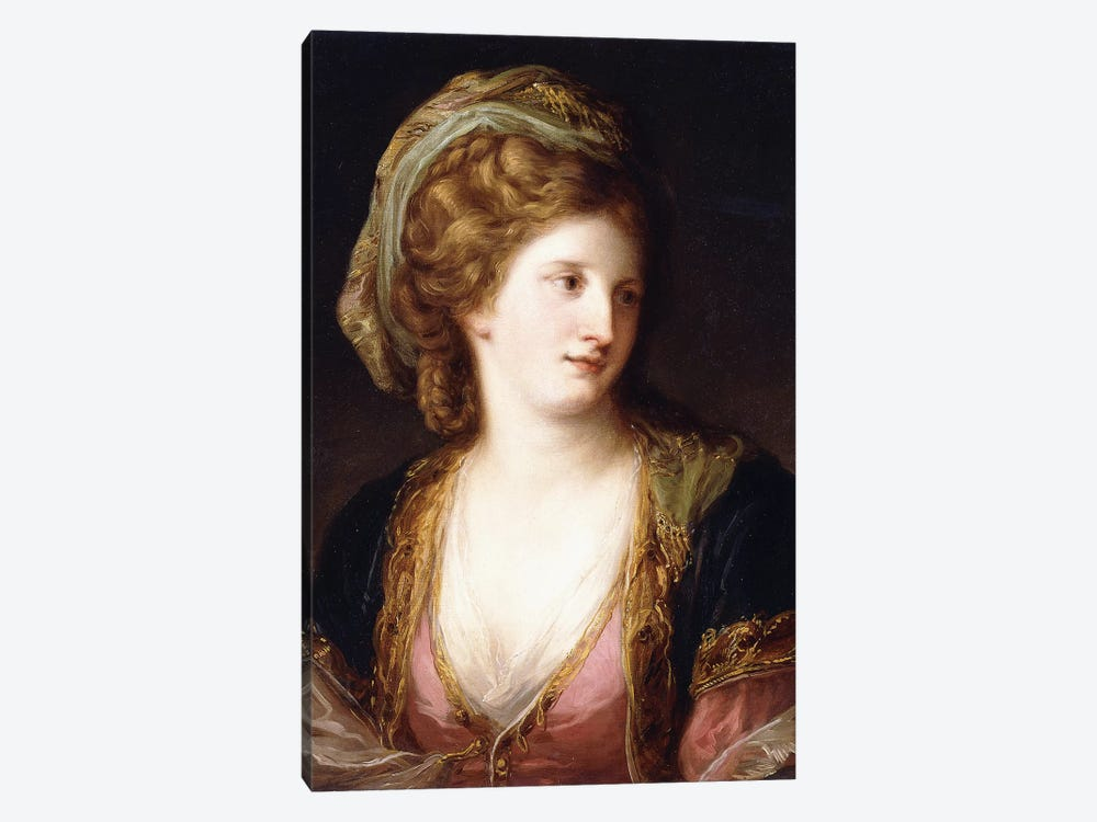 Portrait Of The Artist, Bust Length, Wearing A Pink Dress And A Gold Embroidered Blue Robe, 1767 by Angelica Kauffmann 1-piece Canvas Wall Art