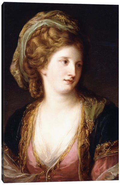 Portrait Of The Artist, Bust Length, Wearing A Pink Dress And A Gold Embroidered Blue Robe, 1767 Canvas Art Print