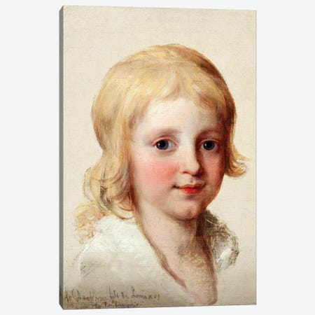 Portrait Study Of Francesco, Crown Prince Of Naples, As A Boy 3-Piece Canvas #BMN7523} by Angelica Kauffmann Art Print