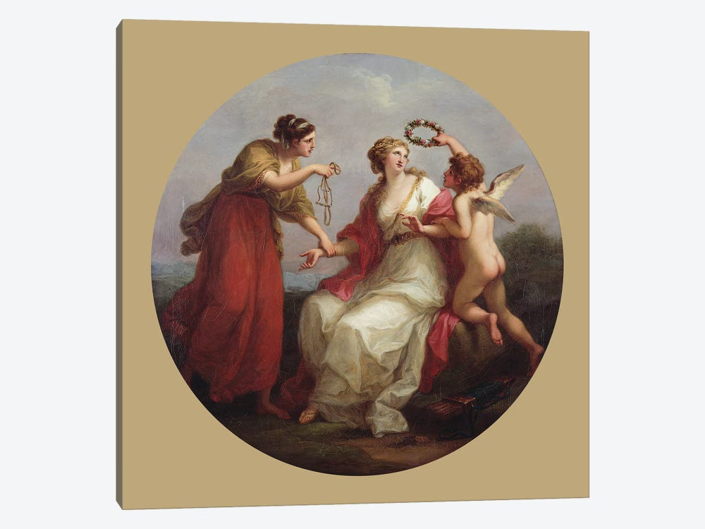 Prudence Resisting Love by Angelica Kauffmann 1-piece Canvas Art Print