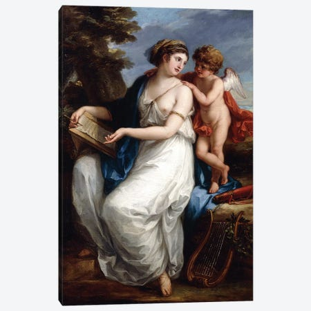 Sappho Inspired By Love Canvas Print #BMN7529} by Angelica Kauffmann Canvas Print