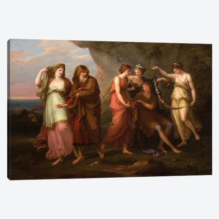 Telemachus And The Nymphs Of Calypso, 1782 Canvas Print #BMN7534} by Angelica Kauffmann Canvas Art Print