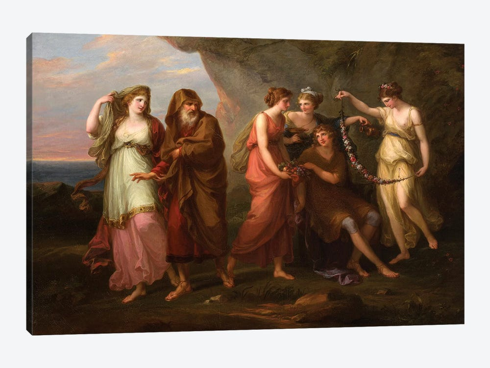 Telemachus And The Nymphs Of Calypso, 1782 by Angelica Kauffmann 1-piece Canvas Art