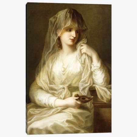 Tuccia, The Vestial Virgin, Three Quarter Length, Holding A Lamp Canvas Print #BMN7538} by Angelica Kauffmann Canvas Art