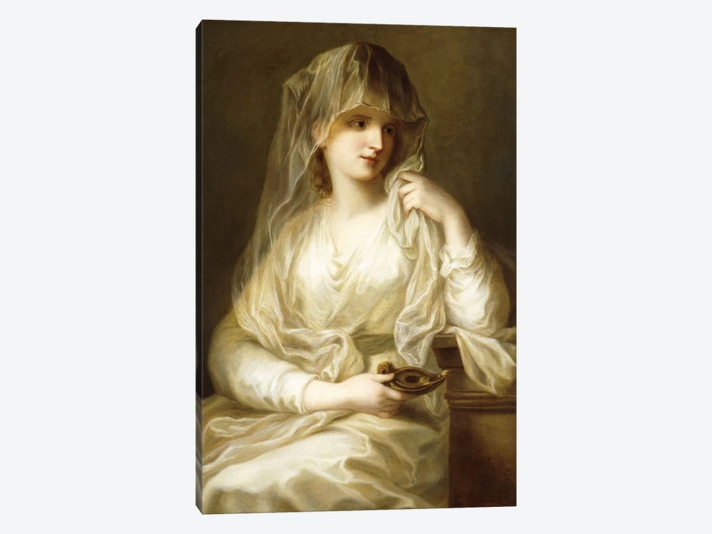 Tuccia, The Vestial Virgin, Three Quarter Length, Holding A Lamp by Angelica Kauffmann 1-piece Canvas Art