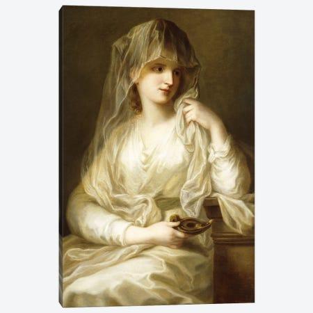 Tuccia, The Vestial Virgin, Three Quarter Length, Holding A Lamp Canvas Print #BMN7538} by Angelica Kauffmann Canvas Art