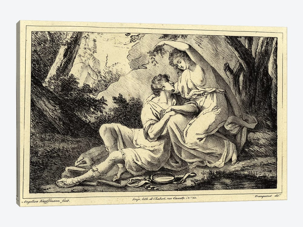 Two Lovers In A Landscape by Angelica Kauffmann 1-piece Canvas Art Print