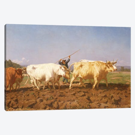 Detail Of Right Half, Ploughing In The Nivernais, 1850 Canvas Print #BMN7543} by Rosa Bonheur Canvas Art Print
